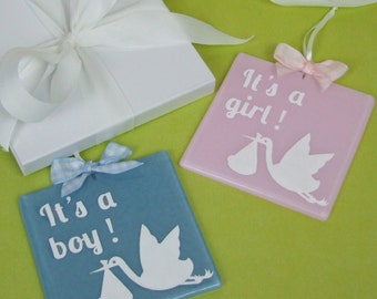 Handmade Fused Glass Gender Reveal Gift / Decorative Keepsake with Stork Papercut by Jessica Irena Smith