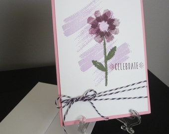 Celebrate Card: Handmade Card, Stampin Up, Purple Flower, Card for Her