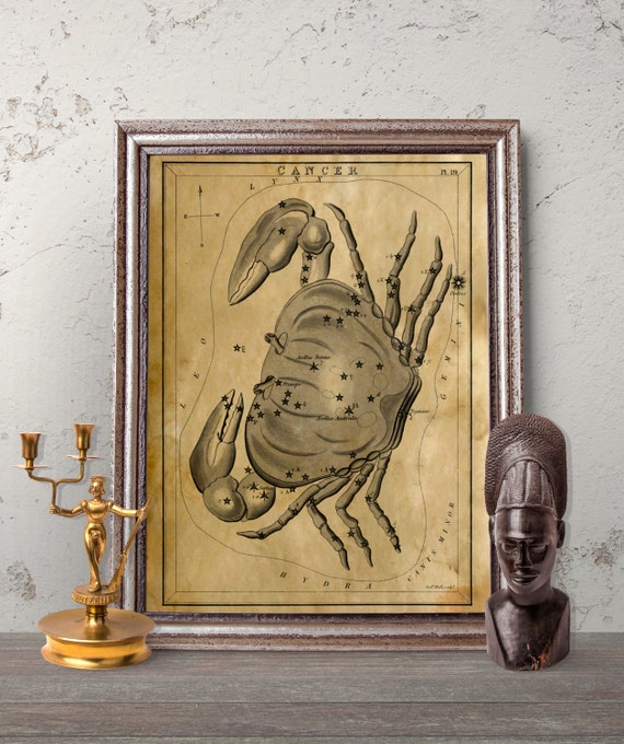 Astronomy Wall Decor Astrological Print Cancer Constellation