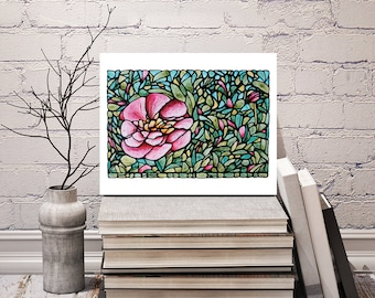 Pink Flower Print - Abstract Peony Flower Art - Floral Wall Hanging - Bedroom Art Decor - 8 x 10 inch - Signed by Artist Kathy Lycka