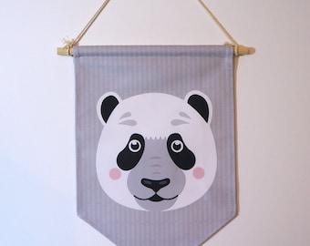 Pennant 'Panda', wall decoration, children's room.