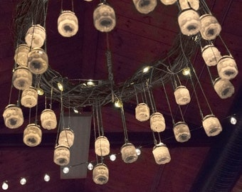 Rustic Chandelier with Battery Operated Lighting