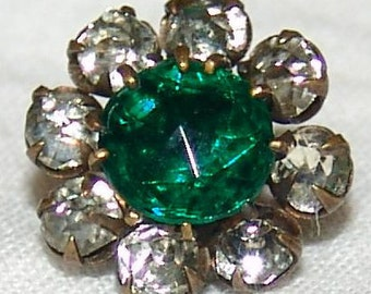 Stunning Antique Rhinestone Button ~ Lovely Teal Green Emerald Facet Glass Gem ~ 8 Shimmering Pastes ~ Brass Prong Setting ~ Just Amazing!