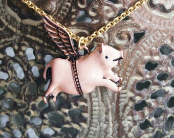 Flying Pig Necklace - Pink Pig With Wings Pendant