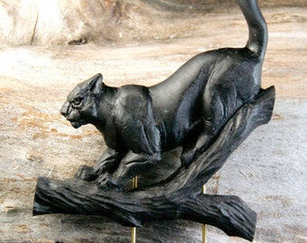 Wooden Panther   Brooch ,  Wooden animal pin brooch, Varnished wooden brooch, Animal brooch
