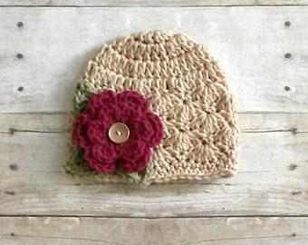 Crochet Baby Flower Shelly Beanie Hat Newborn Toddler Child Photography Photo Prop Handmade Baby Shower Gift Girl