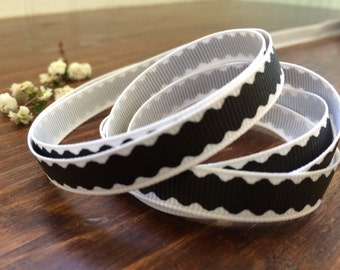 "3/8"" Black Scallop Grosgrain Ribbon - Halloween Ribbon - Halloween Decor- 5, 10, 25, 50 yards - HBC101009-17810314855"
