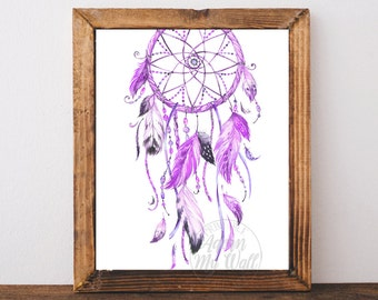 Purple Dream catcher, dreamcatcher print, dream catcher art, boho dream catcher, Instant download, tribal, Watercolor