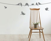 Birds On a Wire Wall Decal - Birds Wall Decal - Modern Wall Decal Decor - Birds Hanging Wall Decal