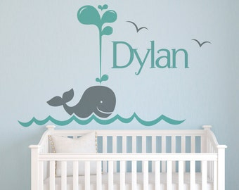 Name Wall Decal Whale - Nursery Wall Decals - Personalized Name Wall Decal - Baby Name Wall Decal Baby Room Art Decor