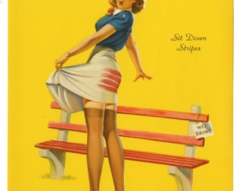 Vintage 1940s WWII-Era Cheesecake Themed Classic Pin-Up Print by Art Frahm Titled Sit Down Stripes