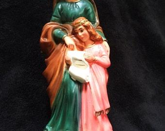 Vintage Saint Ann and Virgin Mary Chalkware Religious Statue Columbia Statuary Italy