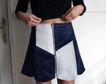 Velvet and fake Sweden patchwork A-line zipper skirt - pieced velvet and fake suede zippered trapeze (navy)-shaped skirt