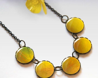 Yellow necklace, Bridesmaid gift, Glass dome necklace, Boho jewelry for women, Chunky bib necklace, Gift idea, 5091-5