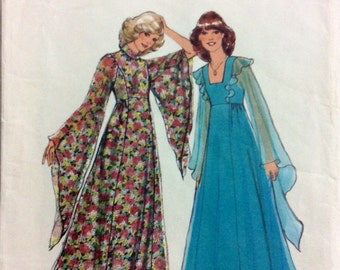 1970s maxi dress with long flared sleeves and empire bodice Style 1765 Uncut vintage sewing pattern Petite Bust 32.5 Waist 25 Hip 34.5