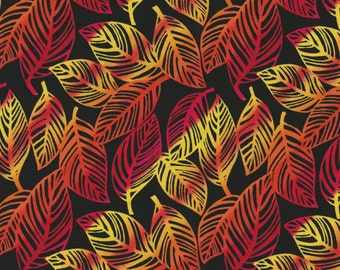 Fabrics of SoHo - 1 yd - Timeless Treasures - Yellow Orange and Red Leaves on Black
