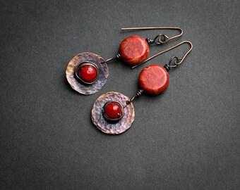 Dangle earrings Red earrings Red stone Coral earrings Patina earrings Coral Long earrings Hammered copper Gypsy earrings Ethnic earrings