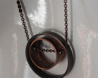Orbital pendant - silver and copper - long chain - hand antiqued and patina