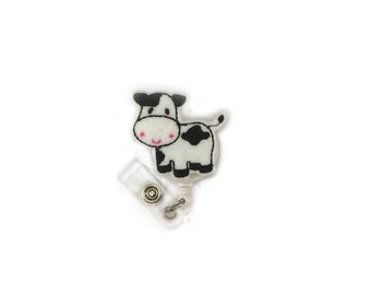 Cow-Retractable ID Badge Holder-Cow Badge Reel-Cow Badge Holder-Id Badge Reel-RN Badge Reel-Id Badge Holder-Cow Id Badge-Nurse Badge Reel-RN