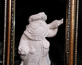 Santa with Wolf and Firewood - Unpainted Ceramic Bisque