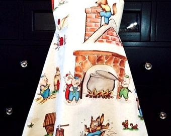 Girls Cross Back Pinafore Dress / Toddler Reversible Dress / Three Little Pigs / Size 3T
