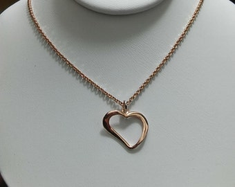 Vintage Sterling Silver with Rose Gold Vermeil Artistic Heart Necklace