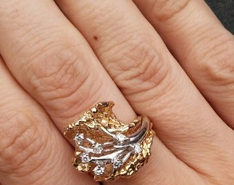 Vintage Estate 14k White and Yellow Gold with Diamonds Sand Casted Gallery Ring