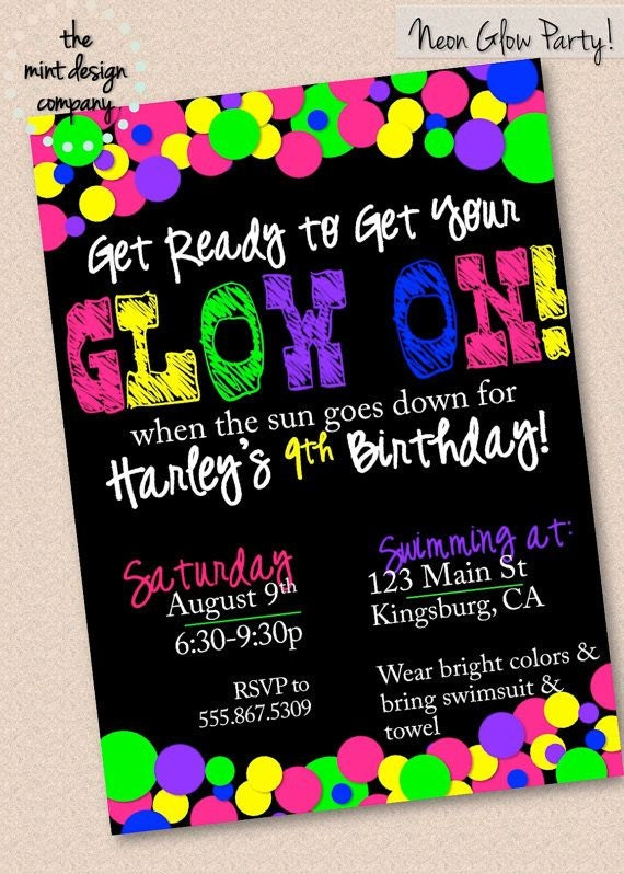Candid image regarding free printable glow party invitations