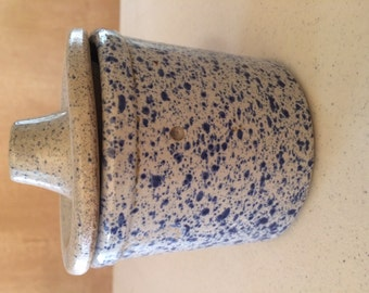 Small blue ceramic crock with lid