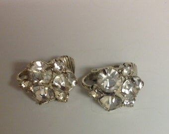 Vintage Clip Rhinestone Earrings Vintage Earrings