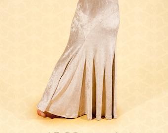 Beige Velvet Bellydance Skirt, YOUR SIZE, tribal fusion, vintage style, 1930s Hollywood glamour