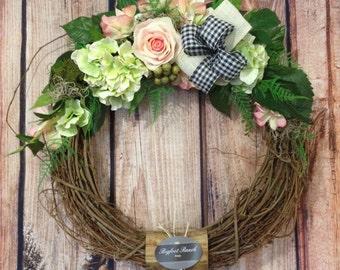 front door wreath, outdoor wreath, indoor wreath, all season wreath, spring wreath, summer wreath, floral wreath, large wreath, wreath