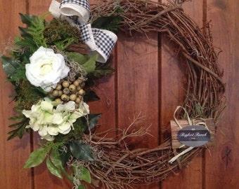 front door wreath, outdoor wreath, indoor wreath, all season wreath, spring wreath, summer wreath, floral wreath, large wreath, wreat