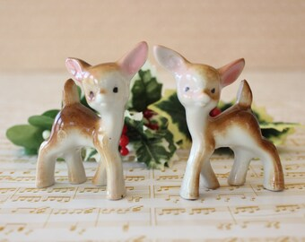 Vintage Deer Figurines Mid Century Porcelain Deer Set of Two Japan