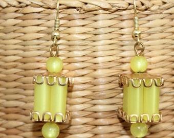Vintage Lemon Yellow Chandelier Earrings for Pierced Ears