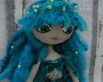 Emerald, rag doll (rag doll, handmade doll, ooak doll)