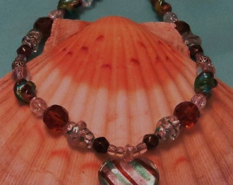 Mint and mocha striped heart lampwork necklace
