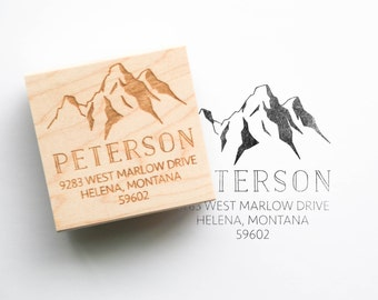 Modern Rustic Address Stamp - Personalized Address Stamp, Return Address Stamp, Mountain Invitation Stamp, Outdoor Wedding Ideas (Style 7)