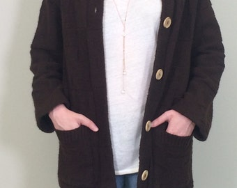 Vintage Brown Cardigan Sweater/1960s Cardigan Sweater/Vintage Sweater