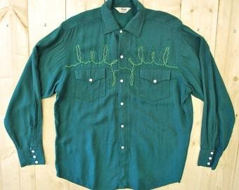 Vintage 1950's/60's Green Gabardine Western Shirt / Saxon of California / Cowpunk /Retro Collectable Rare