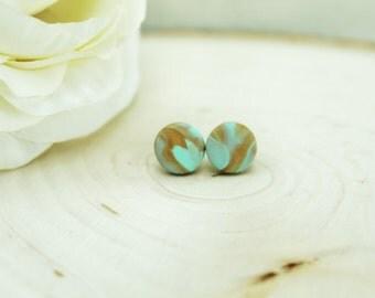 Marbled Studs / Mint and Gold Earrings / Mint Earrings / Hypoallergenic Earrings