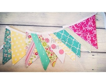 Girl Bunting Banner, 10 Fabric Flag Pennants, Girl Nursery Decor, Birthday, Shower, Flowers, Polka Dots, Pink, Turquoise - Darling
