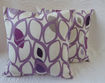 Purple Cushion Pillow Cover 14 inch 36cm Cotton Retro  LeafPrint in Purple and Grey Handmade