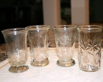 Set of Four Odd Juice Glasses//4 Ounce Juice Glasses//Vintage Juice Glasses