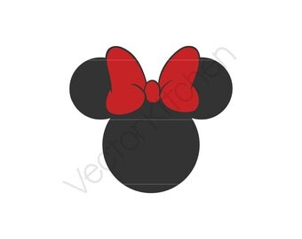Minnie Inspired Silhouette Cutting Template, SVG  & More, Silhouette, Cricut, Vector, Instant Download, Cute Bow, Happiest Place on Earth