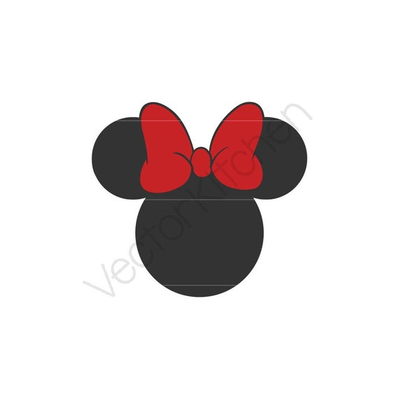 Minnie inspired silhouette cutting template svg more - Dessin tete de minnie ...