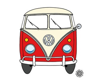VW bus T-SHIRT vintage vw T1, Kombi, Bus, Samba, Splittie van Different colors, DTG printed Original art by Wheels All Over