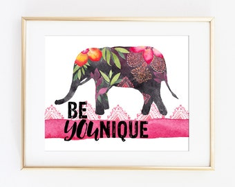 Printable Art Print Be YOUnique Print Be Unique Art Print Elephant Art Print Boho Chic Print Tribal Art Print Gift for Her College Dorm Art