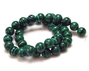 "Great 15"" Strand of 10mm Round Malachite Dyed Stone Beads With Rich Green Colors"