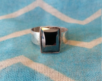 Hematite and Sterling Silver Statement Ring size 11
